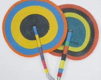 Set of 10 Multicolored Nigerian Hand Fans