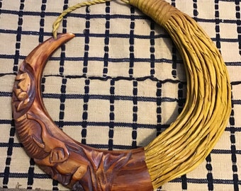 Warthog Tooth Hand-carved Pendant African Necklace w/ Leather