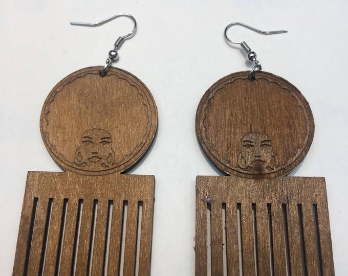 Afro Woman African Peak Comb design Wooden Earrings