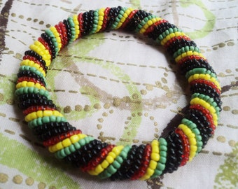 Rasta Colors Beaded Round Masai Bracelet (Small to Large)