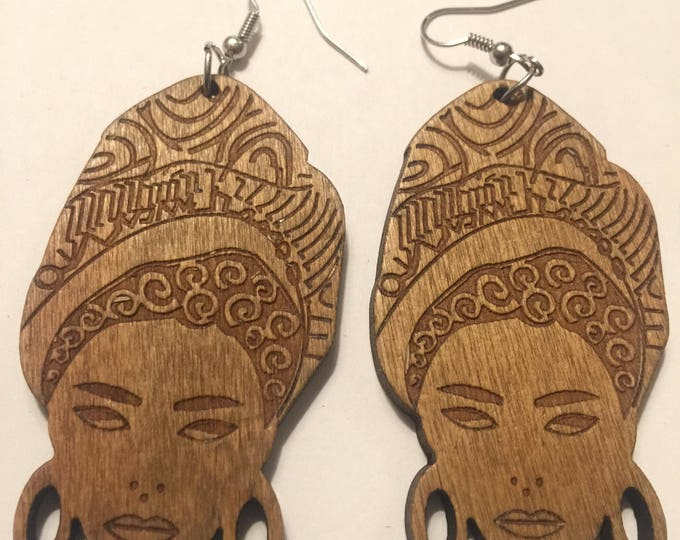 African Woman Image design Wooden Earrings
