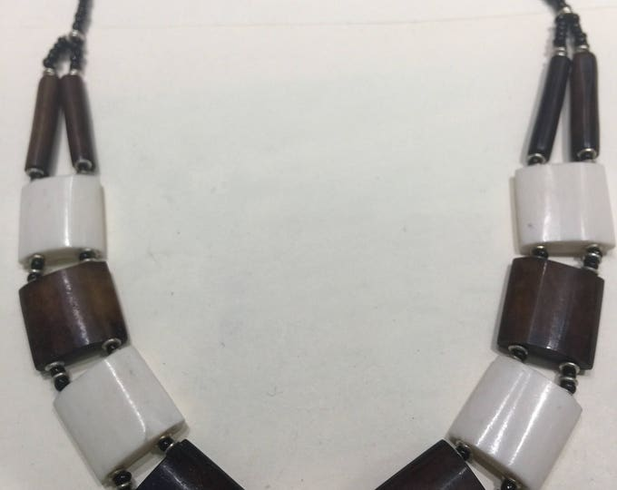 Ivory and Cholocte Color African Beaded Choker Necklace
