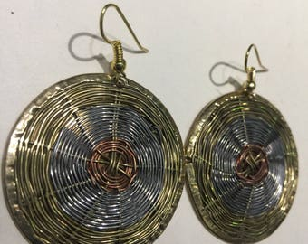 Beautiful round brass, nickel and copper wire earrings. Measure 2H x 2W inches very attractive and unique @doorstoafrica