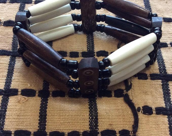 East African Bone Bead Bracelet Ivory Brown Design I