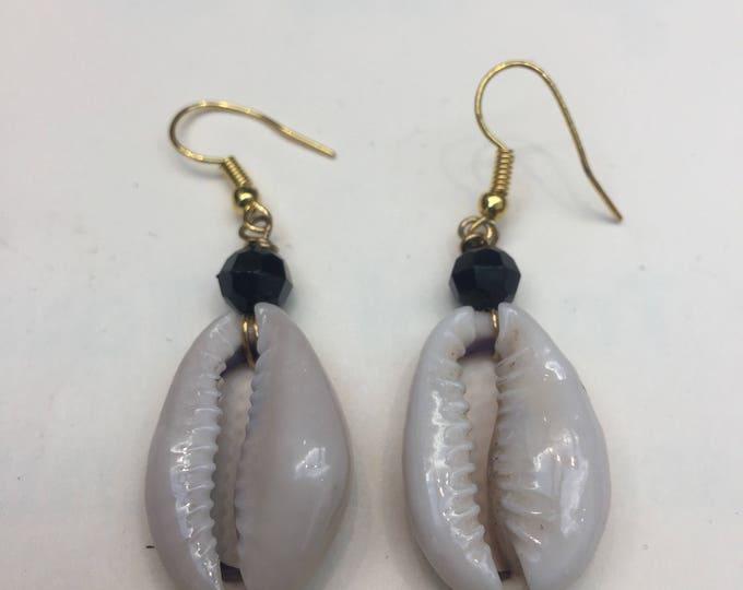 Plain Cowrie Shell Bead Earrings