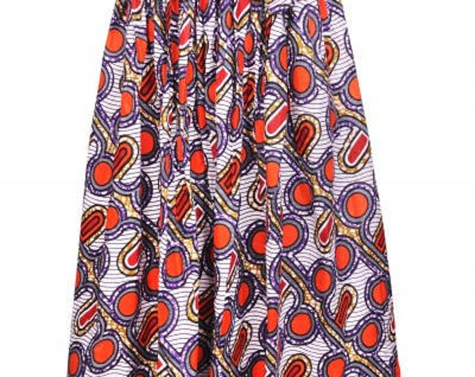 Ankara Traditional Wax Print Adjustable Strap Maxi West African Skirt