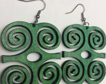 African Adinkra Symbol design Wooden Earrings