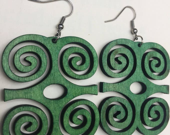 African Adinkra Symbol design Wooden Earrings