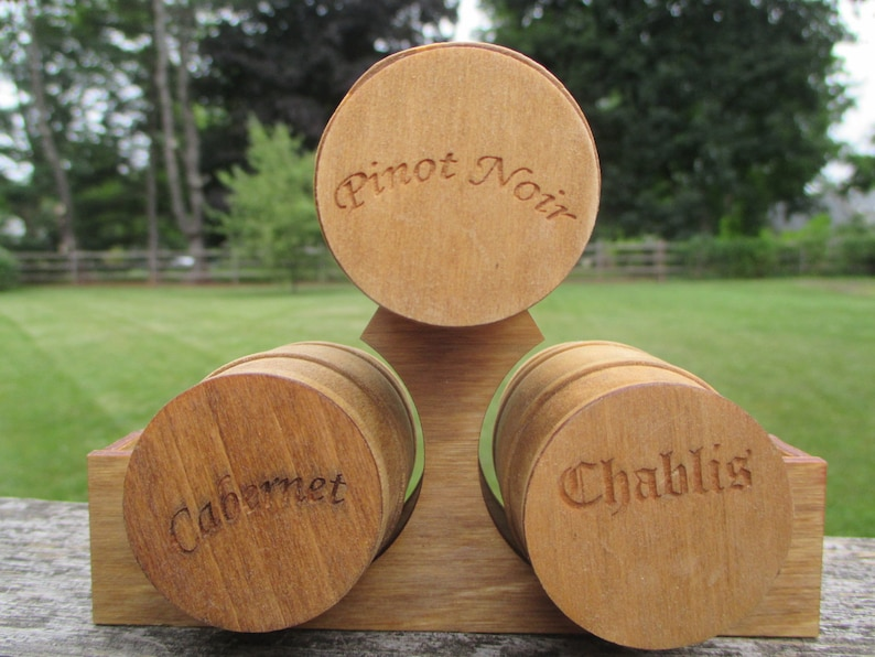 Dollhouse Miniatures Large Wine Beer Barrel Set Of 3 On Wooden Stand Wooden Barrels Are Cabernet Pinot Noir Chablis
