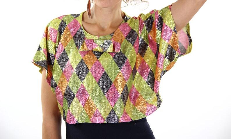 77dbbf661325a Funky crop top vintage 80s top disco glitter sequin women