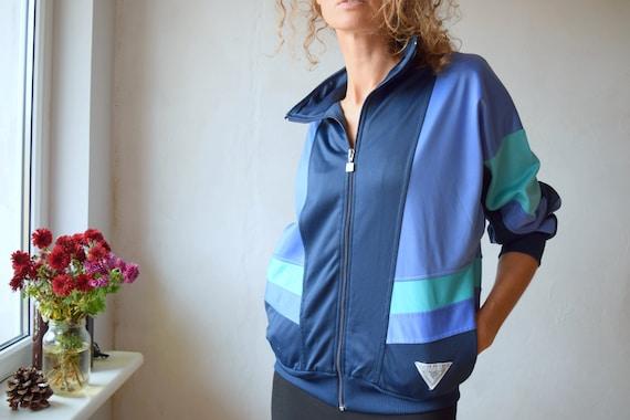 Blue windbreaker, 80's color block jacket, vintage