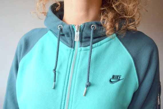 Ewell Trastornado suéter  Green Nike hoodie color block sweater zip up sweater Nike | Etsy