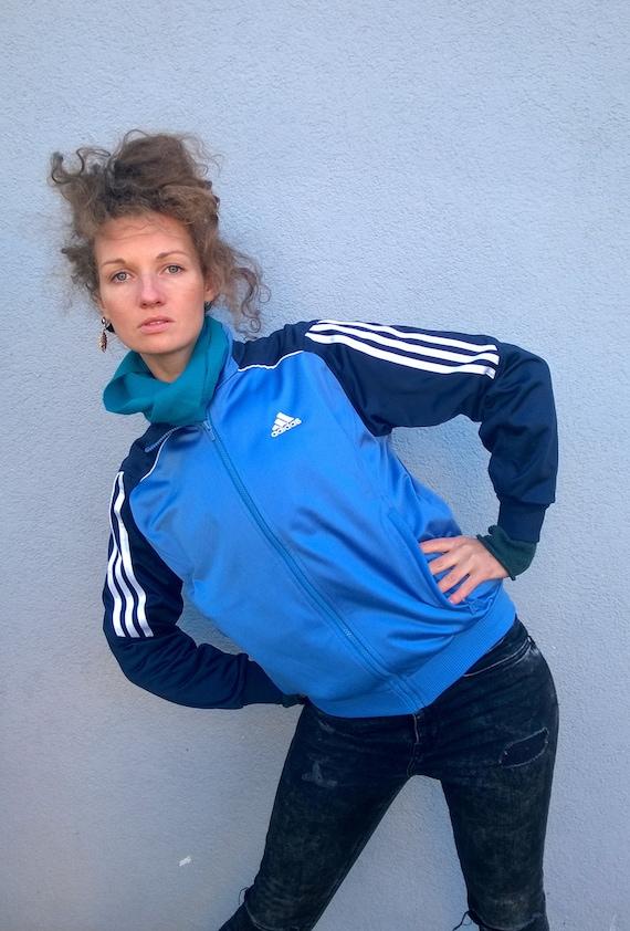 Blau ADIDAS Training Jacke, Neon Trainingsanzug, Bomberjacke, Outdoor Windjacke, läuft Jacke, SM
