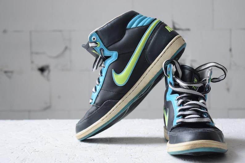 32298b48c5 Vintage NIKE high top skate shoes, black trainers, women's sport shoes,  hiphop shoes, EUR 38.5, athletic shoes, tie sneakers.