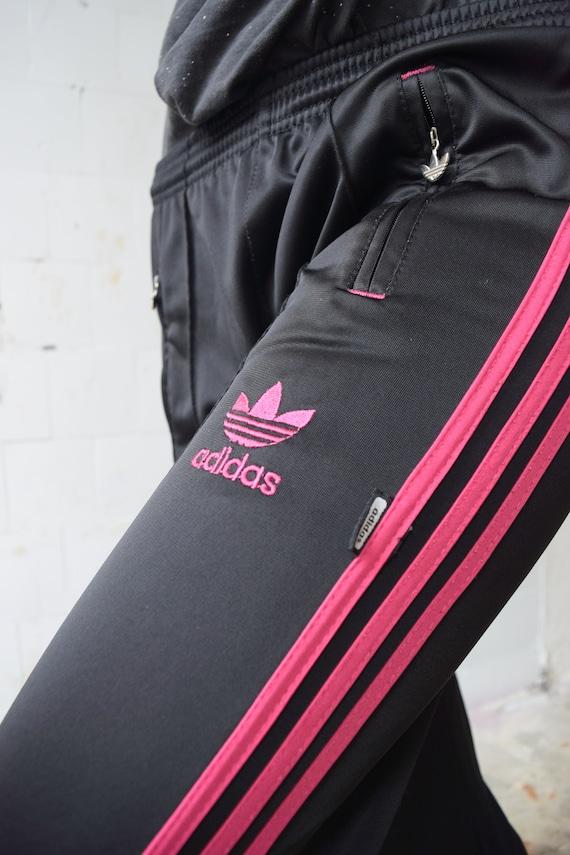 Vintage ADIDAS pants, black pink sweatpants, fitness wear, running gear, retro hip hop trousers, festival pants, size SM