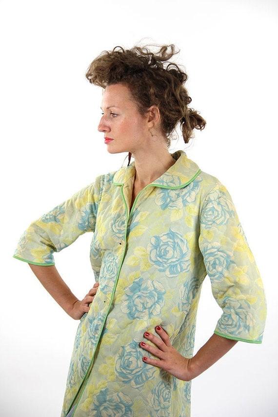 Floral spring coat, women coat, yellow women coat,
