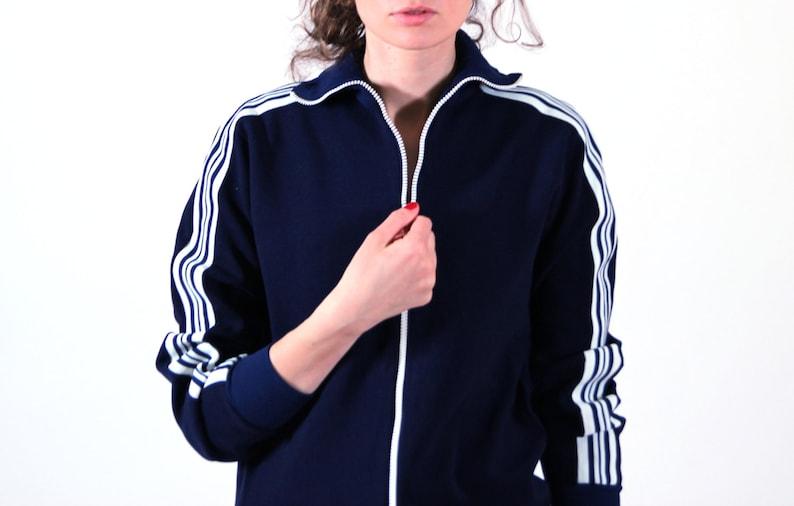 Navy blue windbreaker women bomber jacket workout jacket SM soviet sports wear 3638