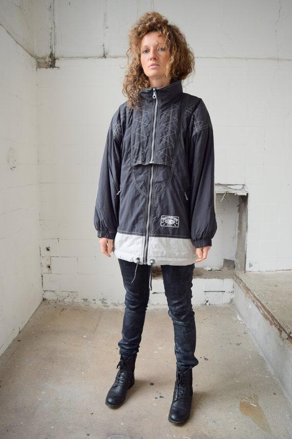 Black ski jacket, vintage ski wear, ski suit, wint