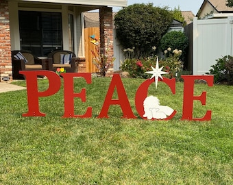 Peace Letters With The Lion And Lamb Outdoor Holiday Christmas Yard Art Sign, Religious Decoration