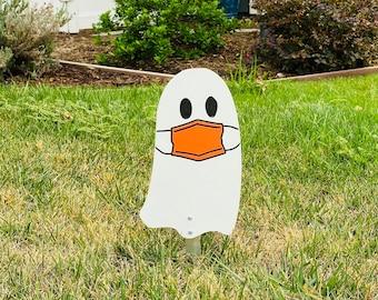 Ghost Wearing A Orange Mask Walkway Sign Halloween Wood Engraved Yard Art Fall Decor