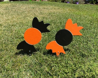 Halloween Candy Set Of Two, Trick Or Treat Wood Engraved Yard Art
