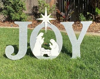 Silver Glittered JOY Nativity Outdoor Holiday Christmas Yard Art Sign, Christmas Decoration