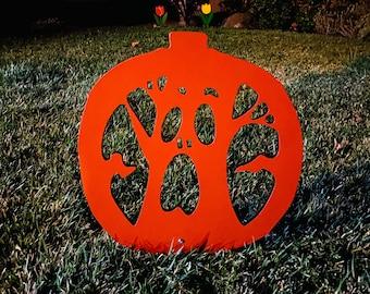 Halloween Scary Jack O' Lantern Outdoor Decoration, Pumpkin Yard Art