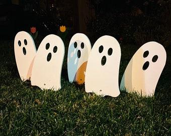 Walkway Ghosts Set Of 5 Halloween Wood Engraved Yard Art Fall Walkway Decor