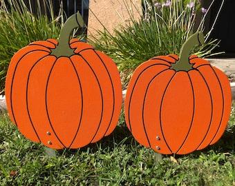 Halloween Pumpkins Set of Two Engraved Wood Pumpkin Yard Art Sign For Fall Decor