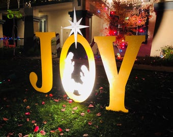 gold sparkle large joy with nativity scene outdoor christmas holiday yard art sign