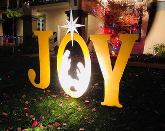 gold sparkle large joy with nativity scene outdoor christmas holiday yard art sign