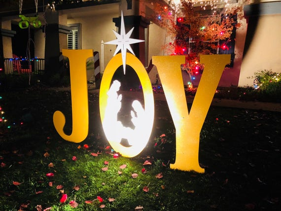 Gold Sparkle Large Joy With Nativity Scene Outdoor Christmas Holiday Yard  Art Sign - Gold Sparkle Large Joy With Nativity Scene Outdoor Christmas Etsy