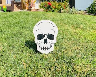 Halloween Skeleton Skull Small, Engraved Wood Lawn, Yard Art