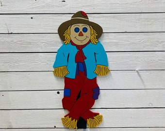 Scarecrow Engraved Wood Yard Art Sign For Fall Decor