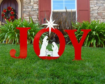 JOY Nativity Outdoor Holiday Christmas Yard Art Sign, Christmas Decoration