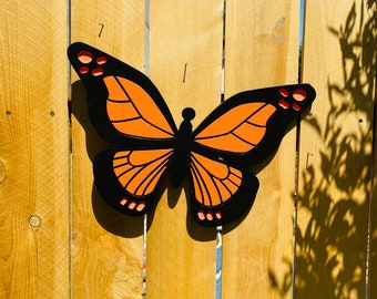 Orange Monarch Butterfly, Hanging Engraved Wood Fence Decor