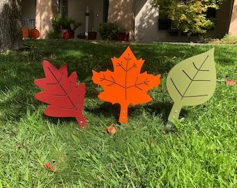 Fall Leaves Engraved Wood Yard Art Sign