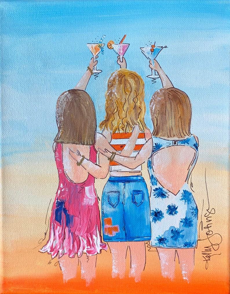 Cheers Girlfriends Original acrylic painting