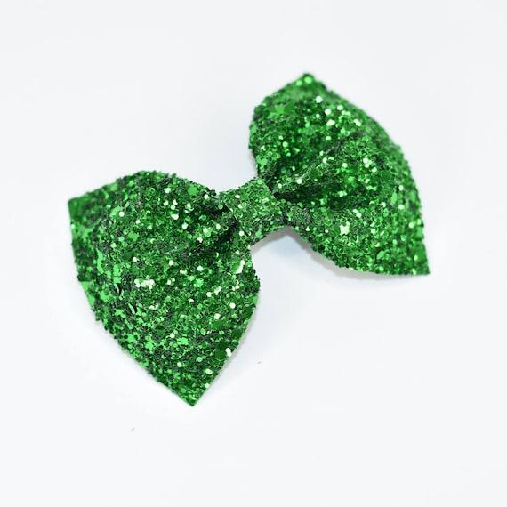Noeud de mini paillettes vert émeraude / vert paillettes noeud / paillettes noeud en tissu / Bandeau / pince à cheveux brillant / arc pince à cheveux