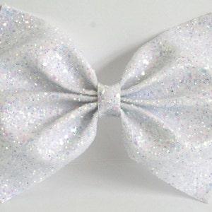 Lotty Metallic Silver and White Paint Splash Bow Headband  Statement Headband  Bow Hairband  Handmade Bow  Silver Bow Hair Clip