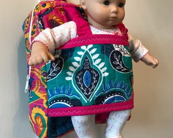 Best friend take along backpack - doll carrier - American girl doll carrier - Made to order