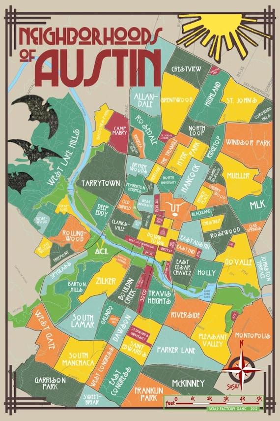 Austin Neighborhoods Map Original Neighborhoods of Austin Map // Austin Texas Print | Etsy Austin Neighborhoods Map
