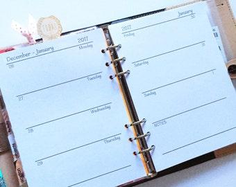 A5 WO2P Monday Start Planner Inserts