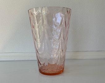 Shell Shaped Vase Tableware Bowed Vase Depression Glass Party Glassware Glass Vase Pink Glass Vase Dinnerware Vintage Glassware