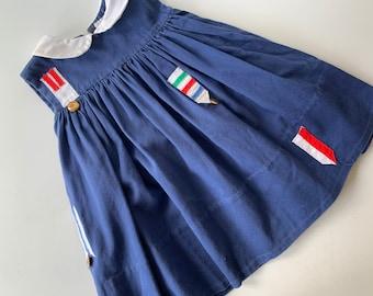 Vintage Toddler Dress  Blue Florence Eiseman Knit Dress  Size 24M