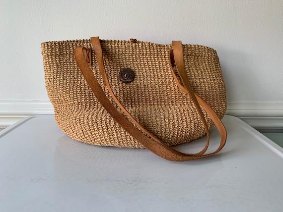 Large natural straw sisal jute market tote bag/mar