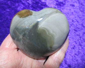Beautiful Polychrome Jasper Heart, puffy, measures 2 3/4 x 2 1/2 inches