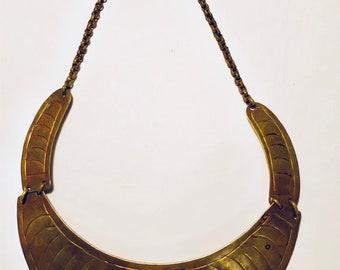 Vintage brass necklace stone chocker