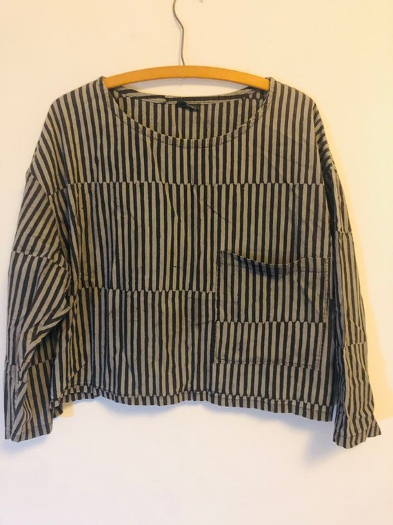Vintage 80s shirt cropped stripped top