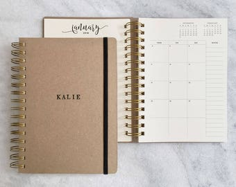 2018-2019 personalized planner | 2018 student planner (Aug-Jul) | 2018 planner | kraft monthly planner | weekly planner 2018